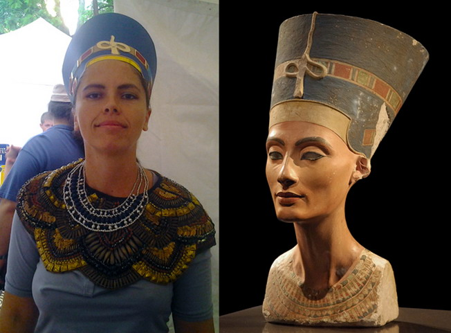 Nofertiti egyiptomi királynő és magyar megszemélyesítője